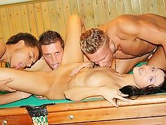 Dark-Haired nailed rigid on the pool table