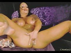 Big-Titted Muscular Milf Bangs Cootchie And Ass With Faux-cocks