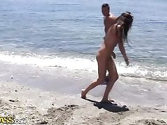 Super-Naughty school students humping on a public beach