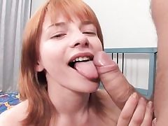 Red-haired honey takes pink cigar in her rump and gargles